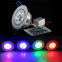 красная лампочка белого цвета оптовых-RGB LED потолочный светильник встраиваемый прожектор AC85-265V RGB / красный / синий / зеленый / белый / теплый потолочный светильник Бесплатная доставка