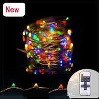 Wholesale 12v Dimmable Led Lighting Controller - 10M 33ft 100LED Dimmable Fairy Lights Silver Copper Wire Led String Christmas String With 12V Adapter And Remote Controller