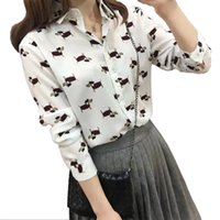Wholesale Print Works Dog - Ladies' cute cartoon dogs print blouses turn down collar long sleeve shirts women casual office work wear tops LT859