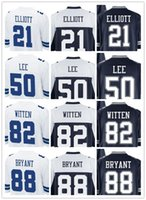 Wholesale Men Game Stitched Cowb0ys ELLIOTT E SMITH JONES LEE WITTEN BRYANT White Blue Mix Order footall jerseys Thanksving