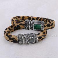 Wholesale Genuine Labradorite - Fashion Genuine Leather Leopard Bracelet real leather Pave labradorite magnet Clasp party  Vacation bracelet for women 382