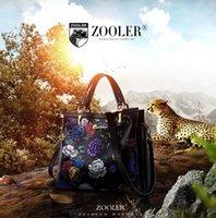 Wholesale Zooler Bags - ZOOLER genuine leather bag brands top handle woman bag luxury embossed floral handbag new fashion shoulder bags #2951