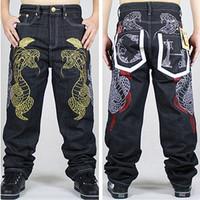 Wholesale Wide Leg Hip Hop Jeans - Wholesale-2015 New Fashion Mens Wide Leg Jeans Embroidered Gold Python Loose Pants Skating Hip-hop Street Rap Dance Trousers Hot Sale