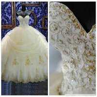 Wholesale cathedral wedding dress embroidery - Real Image Princess Wedding Dresses 2016 Modest Sweetheart Gold Lace Appliques Pearls Beaded Plus Size Bridal Gowns Cheap