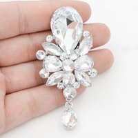 Wholesale hijab accessories china resale online - New Fashion Desian Huge Glass Stone Brooch Elegant Waterdrop Dangle Lady Hijab Wear Brooch Pins Detailed Jewelry Appearl Accessory For Men