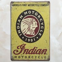 Wholesale Home Sale Signs - Good sale Indian Motorcycle tin sign Vintage home Bar Pub Hotel Restaurant Coffee Shop home Decorative Metal Retro Metal Poster Tin Sign