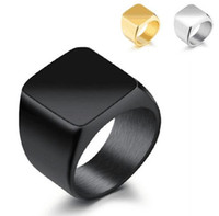 Wholesale Men Gold Square Ring - Hot Selling Stainless Steel Fashion Square Finger Rings For Men Fashion Mens Jewelry Wedding Band Silver Black Gold