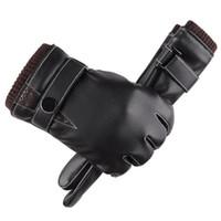 Wholesale warm leather gloves resale online - Men Winter Touched Screen Gloves Men s Leather Gloves Driving Glove Slip Men Thermal Winter Warm Gloves