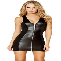 The uniform temptation black in america - in Europe and America sexy lingerie dress sexy nightclub patent leather patent leather zipper temptation to install nightclub