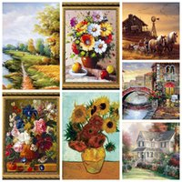 Wholesale Scenery Puzzles - Wholesale- 1000 pieces 50CM*75CM famous painting old master Landscape natural scenery paper puzzles for adult DIY jigsaw puzzle toys