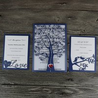 Wholesale Tree Paper Laser Cut - Wholesale- 50- Royal Blue Hot sale chic tree design wedding party decoration paper craft laser cut wedding invitation card greeting card