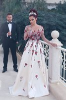 Wholesale vintage bow saw - Vestido De Festa 2017 Long Sleeve Evening Dress Arabic Custom Made Bow Pearls Prom Gowns See Through Bridal Gown