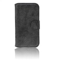 Wholesale Plastic Flip Case Iphone 4s - Retro Nubuck PU leather Card Flip Holder Stand Case Cover for iPhone 4 4s 5 5s 6 6s Plus No Package