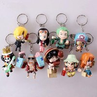 Wholesale One Piece Group - Toys 9pcs set Anime One Piece Figure Keychain Assembly Leisure Life Pirates Group Full Set Model Toy