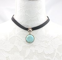 African black gold leather cord - Black leather turqoise stone chocker necklace semi precious leather choker leather cord short round faceted black Turquoise Necklace