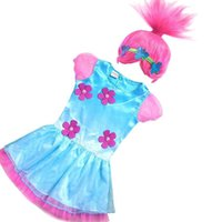 Wholesale carnival girl costume - Retail 2017 Troll Girls dresses+Wigs set Children Gauze Sleeve Carnival Kids Costumes Summer Girl Dress Cosplay Party Clothes E881