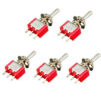 Wholesale Red Toggle Switch - 5Pcs Red 3 Pin ON-OFF-ON 3 Position SPDT Mini Toggle Switch AC 6A 125V 3A 250V Low Price