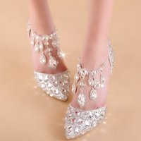 Wholesale Elegant Crystals Bridal Shoes - NEW Elegant Bridal Wedding Shoes Wedding Pumps Buckle Crystal High Heel Shoes Rhinestone Pearl Sparkling Wedding Princess Shoes Big Size
