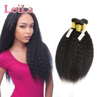 Wholesale one piece human - Peruvian 6inch TO 30inch Human Hair Wefts Kinky Straight Bundles Italian Coarse Yaki Three Pieces One Lot Double Weft Natural Color