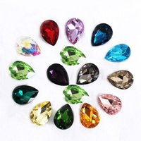 Wholesale Diy Sew Stones - Wholesale 20*30mm Crystal Drop Rhinestone Buttons Glass Gems Crystal Stones Sew On Crafts Decorations DIY Rhinestone Beads
