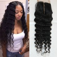 Wholesale peruvian hair way lace for sale - Group buy Peruvian Deep Wave Closure Unprocessed Virgin Human Hair Lace Closure Free Part Middle Part Way Part Hair Closure Fast Shiping