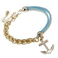 Wholesale Anchor Bracelet Velvet - Unisex wristbands I SHOW brand designer gold plated charm bracelets velvet material anchor charm handmade jewelry