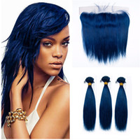 Wholesale cosplay virgin - Brazilian Human Virgin Hair Straight Blue Hair 3 Bundles With Lace Frontal Closure Cosplay Human Hair Weaves With Straight Blue Lace Frontal