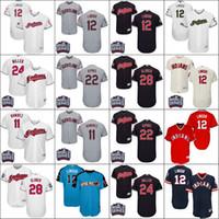 Wholesale Men Blanks - Indians Jersey 12 Francisco Lindor 11 Jose Ramirez 24 Andrew Miller 22 Jason Kipnis 28 Corey Kluber Blank Baseball World Series Jerseys