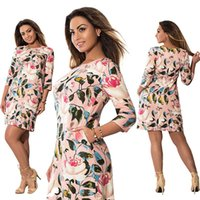 Wholesale Culb Dresses - 5XL 6XL Large Size Roses Printed Dress Straight Culb Party Dresses New Summer Dress 2017 Plus Size Women Clothing Vestidos