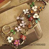 Wholesale cute clay charms - flowers blossoming cute ladybug dragonfly drip bracelet diamond bracelet v216