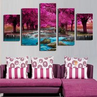 Wholesale Forest Stream - High Quality ink Painting 5pcs panel Wall The forest of flowers was interspersed in the middle of the stream picture home decoration modern