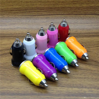 Wholesale Mini Mobile Phone Portable Charger - Universal Mini USB Car Charger Bullet Portable Charger Adapter For Smart Mobile Cell Phone 5V 1A Colorful PDA MP3 MP4