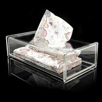 Wholesale plastic acrylic sheets - Wholesale- Modern Clear Acrylic Bathroom Facial Tissue Dispenser Box Cover   Decorative Napkin Holder