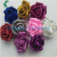 Silhueta Hydrangea Real Touch Flowers Decorações de casamento Rose Artificial Glitter Foam PE Flores artificiais Rose Head Party Bola DIY Kissing