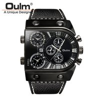 Wholesale Gold Sub Watch - OULM watch men luxury brand Multiple Time Zone quartz Watch Boat nails military watches men wristwatches sub-dials decoration drop shipping