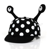 Wholesale baby bee hat - Wholesale Unisex Children Visors Cap Baby Cute Bee Design Polka Dot Adjustable Double Antenna Soft Brim Baseball Hat MZ4394 5 pcs
