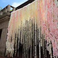 ingrosso fortunati piante di bambù-100 centimetri artificiali finti seta rosa fiore Vine decorazione matrimonio fiore fatto a mano ghirlanda matrimonio / casa / partito Decor fiori decorativi ghirlande