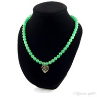 Wholesale Vintage Jade Beads - wholesale-freeshipping 14pcs 18inch 8mm Jade necklace vintage jewelry gold plated necklace jade beads fashion high quality women's necklace