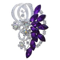 Wholesale Cardigans For Weddings - Wholesale- Summer style Silver Plated Full Shining Crystal Rhinestone Cardigan Brooches for Wedding Gift brooch for women party Accessories