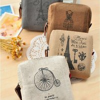 Venta al por mayor-Vintage Mujer Linen Eiffel Tower monedero monedero Mini Wallet Card Holders