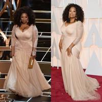 Wholesale Oscar Bride - Elegant Pink Long Sleeve Mother Of The Bride Dresses Oscar V Neck Ruched Plus Size Mother Groom Dress Formal Evening Party Gowns