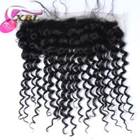 Wholesale Deep Wave Free Closure - XBL Free Part Deep Wave Human Hair Extensions 13*4 Lace Frontal Closure Deep Wave Human Hair
