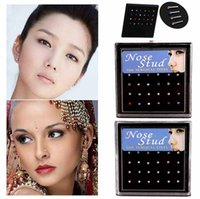 Wholesale Small Piercing Ring - 2017 Hot Wholesale Surgical Steel Small Nose Ring Fashion Body Jewelry 8MM Length Nose Studs Stainless Piercing Crystal Stud Free Shipping