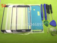 Wholesale Stickers S4 Glass - Replacement Outer Glass for Samsung Galaxy S4 i9500 i9505 LCD Touch Screen Front Glass Outer Lens with tools & Sticker