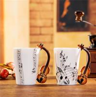 cadeaux de musique chine achat en gros de-Nouveau Violon Musique Bone China Mug 240 / 400ml Céramique Tasse À Café En Porcelaine Tasse À Thé Zakka Nouveauté Pour Cadeau Café Teatime Bureau