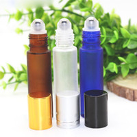 Wholesale Gold Essential Oil Bottle - Mix Amber Blue Clear Colors 10ml Frosted Glass Roller Bottles With Metal Roller Ball And Black Silver Gold Lids For Essential Oil ELiquid