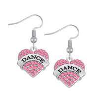 Wholesale Rhinestone Dance Earrings - Fashion Design Crystals Embedded DANCE Engraved Charm Earrings Heart Drop Earring Women Jewelry best Gift For Party