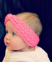 Wholesale Pink Ear Warmer Headband - Cute Baby Turban Knitted Headbands Wool Bow Crochet Knit Kids Hairband Winter Ear Warmer Head wrap bowknot Children Hair Accessories 7Color