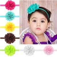 Wholesale Beautiful Hair Flowers - Baby Toddler Hair Flower Headbands Children's Hair Accessories Girls Elastic Hairbands Hand Sewing Beautiful Headwear 10 Colors