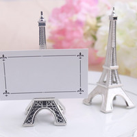 Wholesale Wedding Card Pictures - Eiffel Tower Seat Clip Creative Design Table Card Note Picture Memo Photo Holder Office Message Clips Wedding Supplies 4 5yk F R